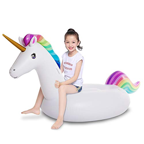 Jasonwell Big Inflatable Unicorn Pool Float Floatie Ride On with Fast Valves Large Blow Up Beach Swimming Pool Party Lounge Raft Toys Kids Adults