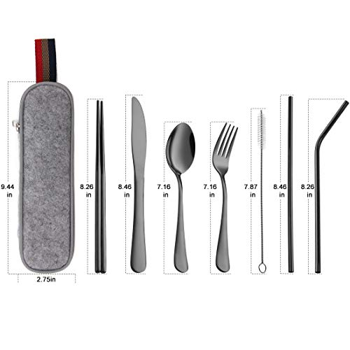 Devico Portable Utensils, Travel Camping Cutlery Set, 8-Piece including Knife Fork Spoon Chopsticks Cleaning Brush Straws Portable Case, Stainless Steel Flatware set (8-piece Black)