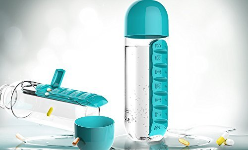 Asobu Combine Daily Pill Box Organizer with Water Bottle, 20 oz, Black (Blue)