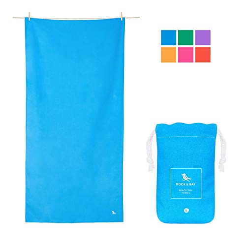 Dock & Bay Quick Dry Compact Travel Towel - Niagara Blue, 63 x 31 - Travel, Shower & Fitness - Quick Drying & Absorbent for Camp, Sports, Swim