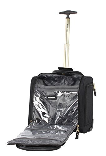 Steve Madden Designer Luggage Collection- 3 Piece Softside Expandable Lightweight Spinner Suitcases- Travel Set includes Under Seat Bag, 20-Inch Carry on & 28-Inch Checked Suitcase (Peek-A-Boo Black)