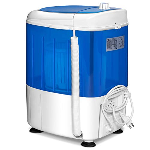 COSTWAY Washing Machine, Electric Compact Laundry Machines Portable Durable Design Washer Energy Saving, Rotary Controller and Washer Spin Dryer(Blue)