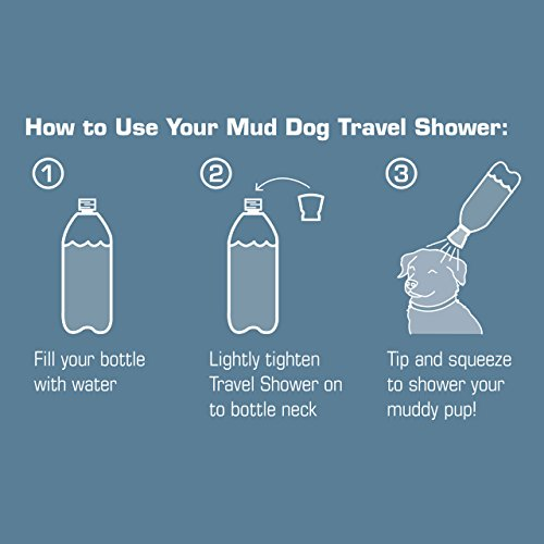 Kurgo Portable Outdoor Shower for Dogs | Dog Grooming Tool | Pet Bathing Gear | Dog Travel Accessories | Hiking, Beach, OR Camping Supplies for Pets | Works with 2 Liter Soda Bottle | Mud Dog Shower