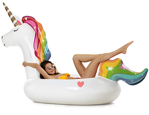 Vickea Giant Inflatable Unicorn Pool Float Outdoor Swimming Pool Floaties Lounge for Adults