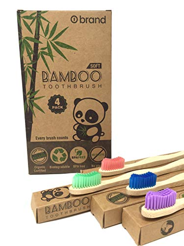 Bamboo Toothbrush, Eco Friendly & Natural, Soft Bristle Tooth brush, BPA Free, Wooden Toothbrushes, Zero Waste Products, Organic, Vegan, Non Plastic, Environmental (Adult 4 Pack)