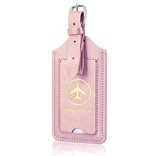 2 Pack Luggage Tags, ACdream Premium PU Leather Case Name Luggage Bag Tags for Travel Bag Suitcase Set with Name ID Labels, Rose Gold