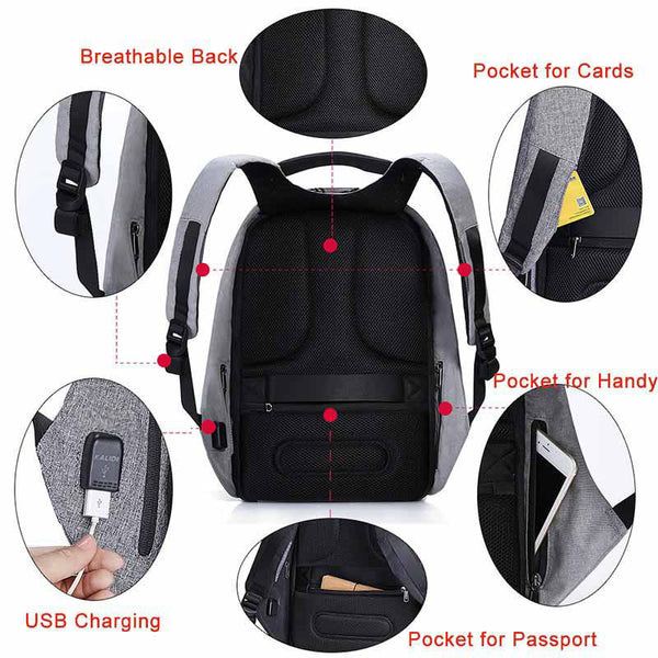 Waterproof Laptop Backpack Men 15inch Multifunction Anti theft Backpack USB Charging Male Travel School Backpacks