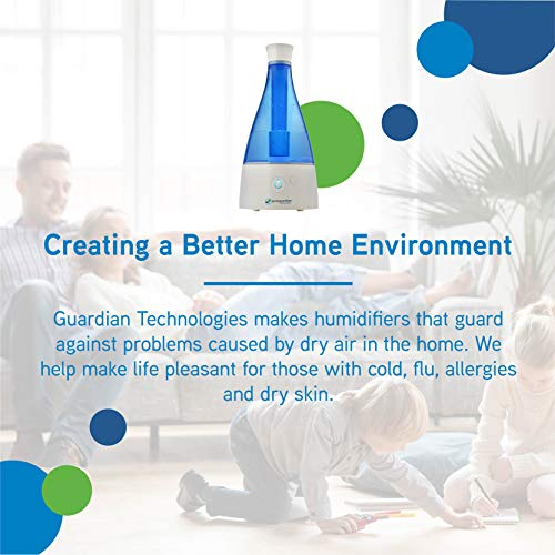 Ultrasonic Cool Mist Humidifier, 30 Hrs. Run Time, 0.5 Gal. Tank Capacity, 350 Sq. Ft. Coverage, Quiet, Filter Free, Treated Tank Resists Mold