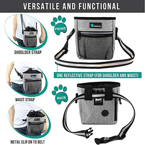 PetAmi Dog Treat Pouch | Dog Training Pouch Bag with Waist Shoulder Strap, Poop Bag Dispenser and Collapsible Bowl | Treat Training Bag for Treats, Kibbles, Pet Toys | 3 Ways to Wear (Heather Gray)