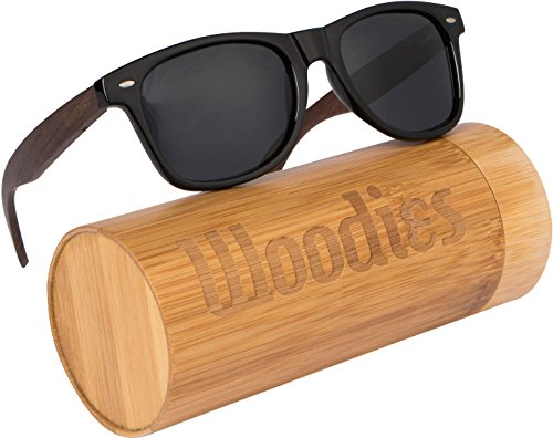 Wood Sunglasses with Polarized Lens in Bamboo Tube Packaging Woodies (Walnut)