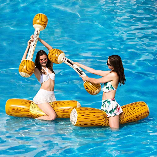 MYYAGEW 2 Pcs Package Inflatable Floating Water Toys Aerated Battle Logs, Adult Children Pool Party Water Sports Games Log Rafts to Float Toys Pool Toys