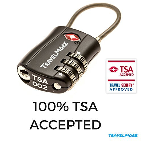 TSA Approved Travel Combination Cable Luggage Locks for Suitcases & Backpacks - 1 Pack of Black TSA Lock