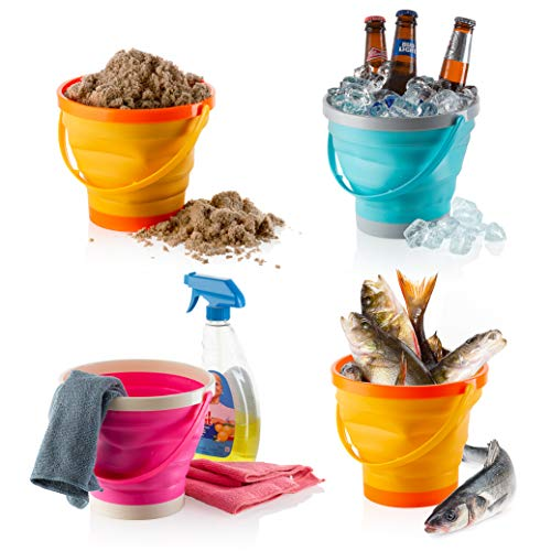 Foldable Pail Bucket Collapsible Buckets Multi Purpose for Beach, Camping Gear Water and Food Jug, Dog Bowls, Cats, Dogs and Puppys, Camping and Fishing Tub, (Half Gallon)