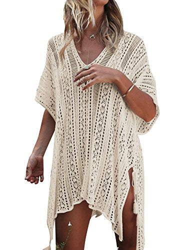 Jeasona Women's Bathing Suit Cover Up Beach Bikini Swimsuit Swimwear Crochet Dress (Beige, M)