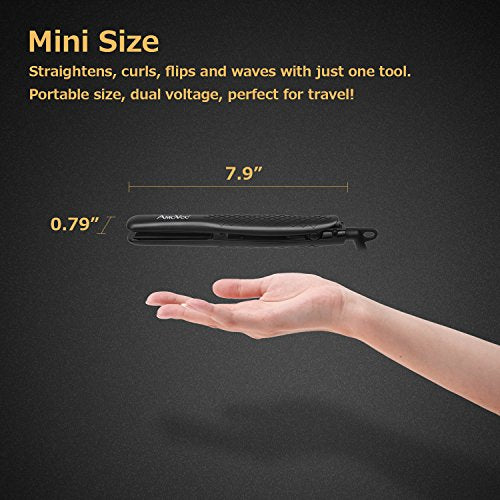 AmoVee Mini Flat Travel Iron Smart Ceramic Tourmaline Hair Straightener Negative Ionic Technology