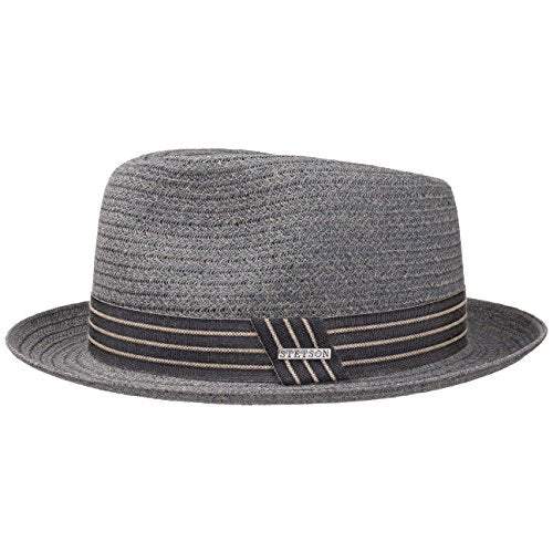 Stetson Carson Fedora Toyo Straw hat - Heathered Summer hat for Men - Paper Straw Sun hat with Striped Grosgrain Ribbon - Stylish Men's hat for Spring/Summer Grey-Blue XL (7 1/2-7 5/8)