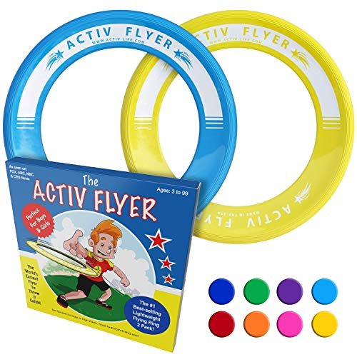 Activ Life Best Kids Flying Rings [Yellow/Cyan] - Top Birthday Presents & Gifts for Young Boys Girls Ages 3 and Up - Ultimate Outdoor Toss Toys at Beach Vacation, School Playground, Park, Pool Fun
