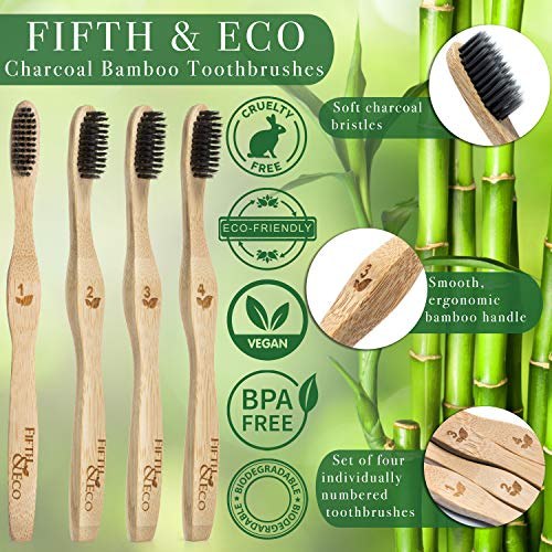 Fifth & Eco Eco-friendly Premium Bamboo Toothbrushes (Pack of 4)|Natural bamboo toothbrush with Soft Charcoal Bristles | Eco toothbrush with biodegradable, ergonomic handle | Wooden toothbrushes