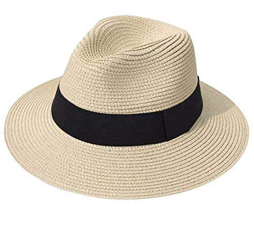 Lanzom Women Wide Brim Straw Panama Roll up Hat Fedora Beach Sun Hat UPF50+ (A-Khaki)