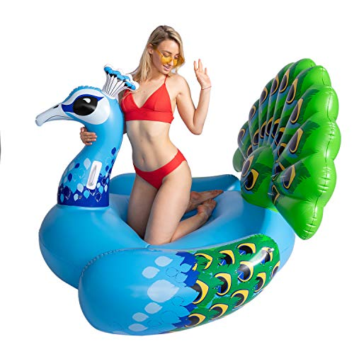 JOYIN Inflatable Peacock Pool Float, Fun Beach Floaties, Swim Party Toys, Pool Island, Summer Pool Raft Lounge for Adults & Kids