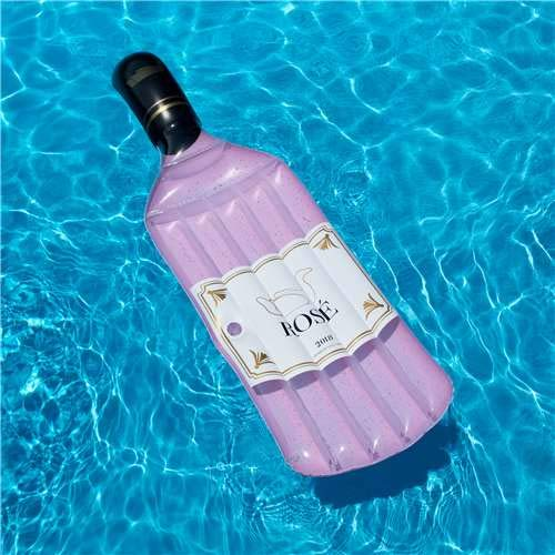 Swimline 90654 ROSÉ Float, Inflatable Pool Mattress, One Size, Pink/White/Clear/Black/Gold Accent