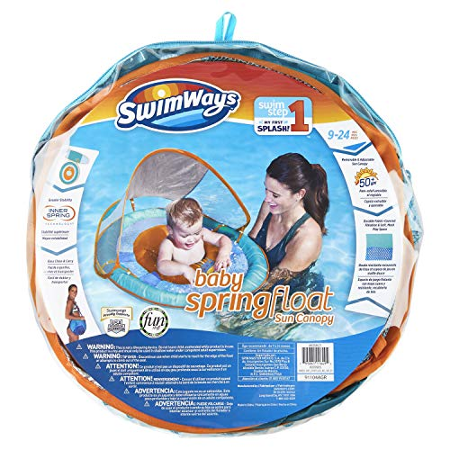 SwimWays Baby Spring Float Sun Canopy - Green Fish