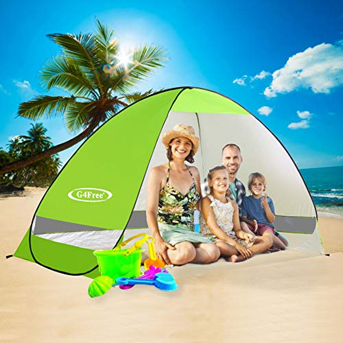 G4Free Large Pop up Beach Tent Automatic Sun Shelter Cabana Anti UV Instant Portable (Green)