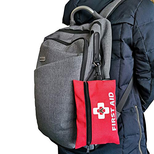 Mini First Aid Kit,92 Pieces Small First Aid Kit - Includes Emergency Foil Blanket, CPR Respirator, Scissors for Travel, Home, Office, Vehicle,Camping, Workplace & Outdoor (Red)