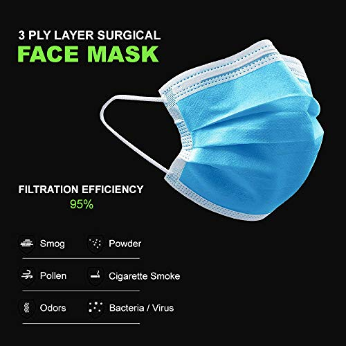 Disposable Face Mask and Gloves Set with Sanitizing Wipes, Personal Protection (PPE), 1 3-ply Face Mask, 3 Pairs Disposable Gloves and 3 Sanitizing Wipes