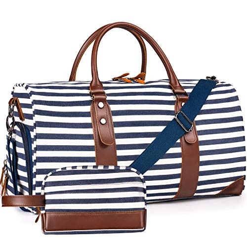 "Oflamn 21"" Weekender Bags Canvas Leather Duffle Bag Overnight Travel Carry On Tote Bag with Luggage Sleeve (Blue/White Striped)"