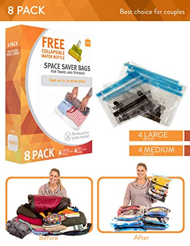 8 Travis Travel Gear Space Saver Vacuum Bags with Collapsible Water Bottle (4 Medium and 4 Large). No Pump Needed Roll Up Compression and Organizer for Storage and Luggage