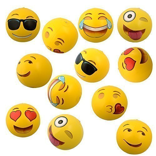 "Emoji Inflatable Beach Balls, 12"" - 12 Pack"