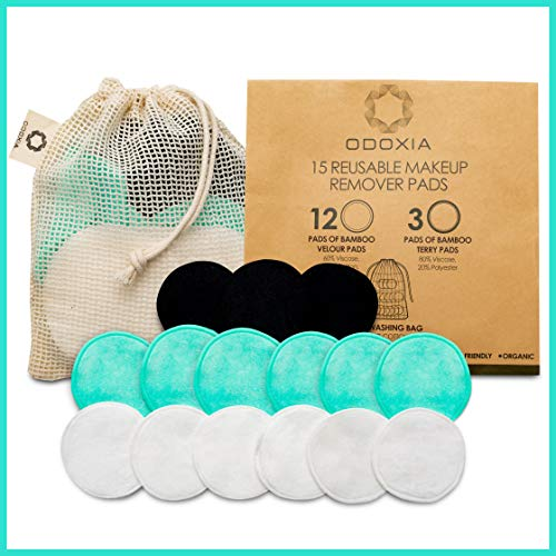 Reusable Cotton Rounds | Zero Waste Eco-Friendly Makeup Remover Pads | 15 Natural & Organic Double Layered Face Pads with Laundry Bag | Soft for All Skin Types | Bamboo Cloths for Facial Cleansing
