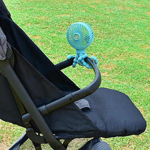 HomeLifairy Portable Mini Handheld Stroller Fan and 2600mAh Baby Fan with Flexible Tripod Can Be Wrapped on Stroller/Car Seat/Student Bed/Bike USB and Battery Powered Desk Fan (Blue)