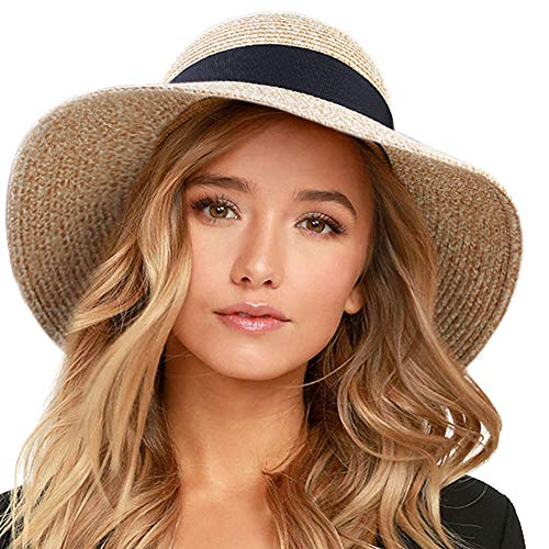 "FURTALK Womens Beach Sun Straw Hat UV UPF50 Travel Foldable Brim Summer UV Hat(Large Size (22.4""-23""),Mixed Beige)"