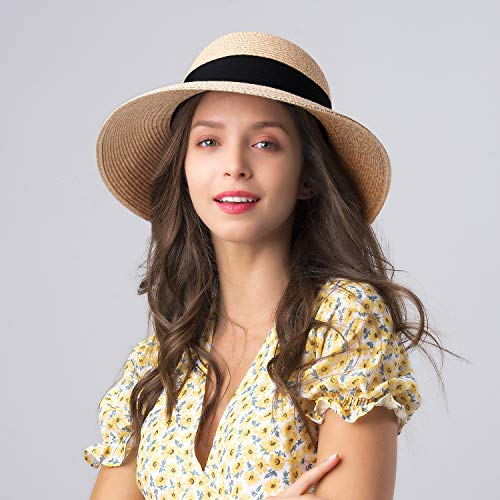 FURTALK Womens Beach Sun Straw Hat UV UPF50 Travel Foldable Brim Summer UV Hat(Large Size (22.4