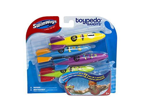 SwimWays Toypedo Bandits Pool Diving Toys - Sinking Torpedo Swim Toys - Pack of 4, Colors Vary,  (12298)