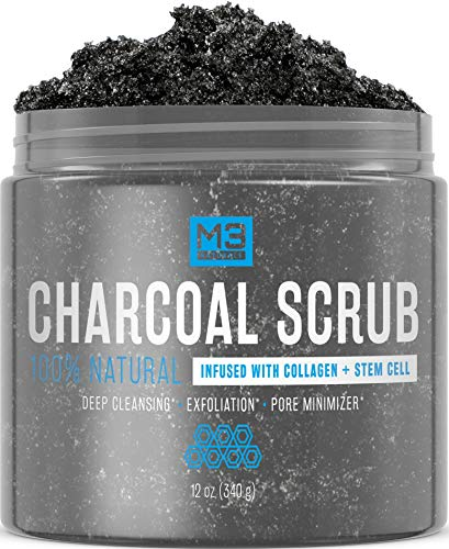 M3 Naturals Activated Charcoal Scrub Infused with Collagen and Stem Cell All Natural Exfoliating Body and Face Polish for Acne Cellulite Dead Skin Scars Wrinkles Cleansing Exfoliator 12 oz