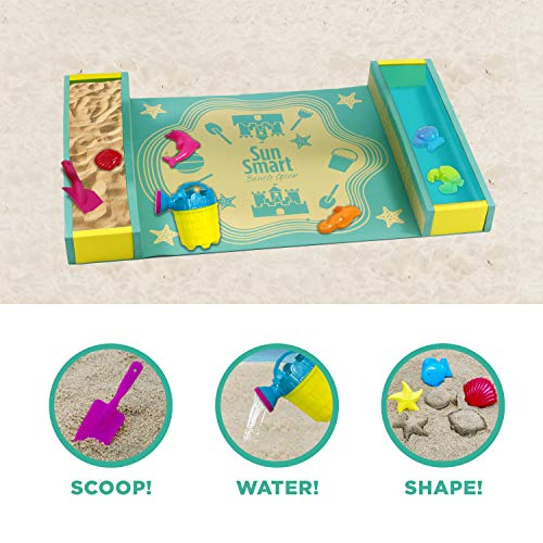 SunSmart Kiddie Activity Play Set, Beach Sand Toy Playset with Eight (8) Toys, Foldable/Portable Take Along Beach Sand Play Kit with UPF50 Canopy