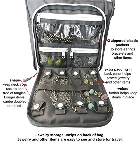 WAYFARER SUPPLY Hanging Toiletry Bag for Women: Pack-it-flat Travel Bag w Jewelry Organizer Fits Full Sized Travel Accessories, Grey