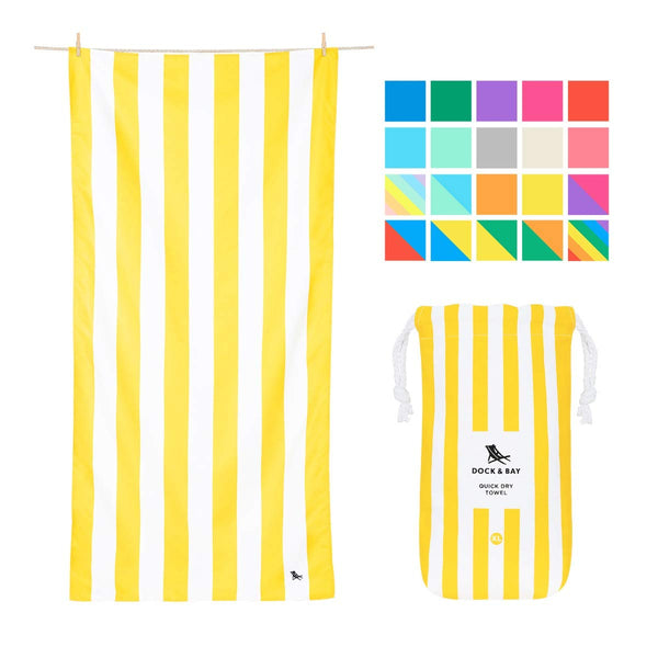 Oversized Microfibre Compact Beach Towel Yellow, X-Large (200x90cm, 78x35) Fast Drying, Beach mat