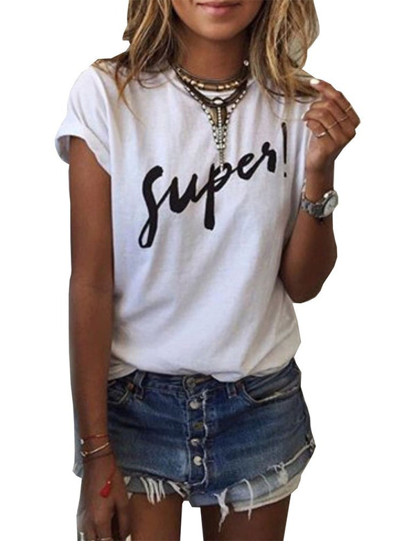 Haola Women's Summer Street Printed Tops Funny Juniors T Shirt Short Sleeve Tees White S