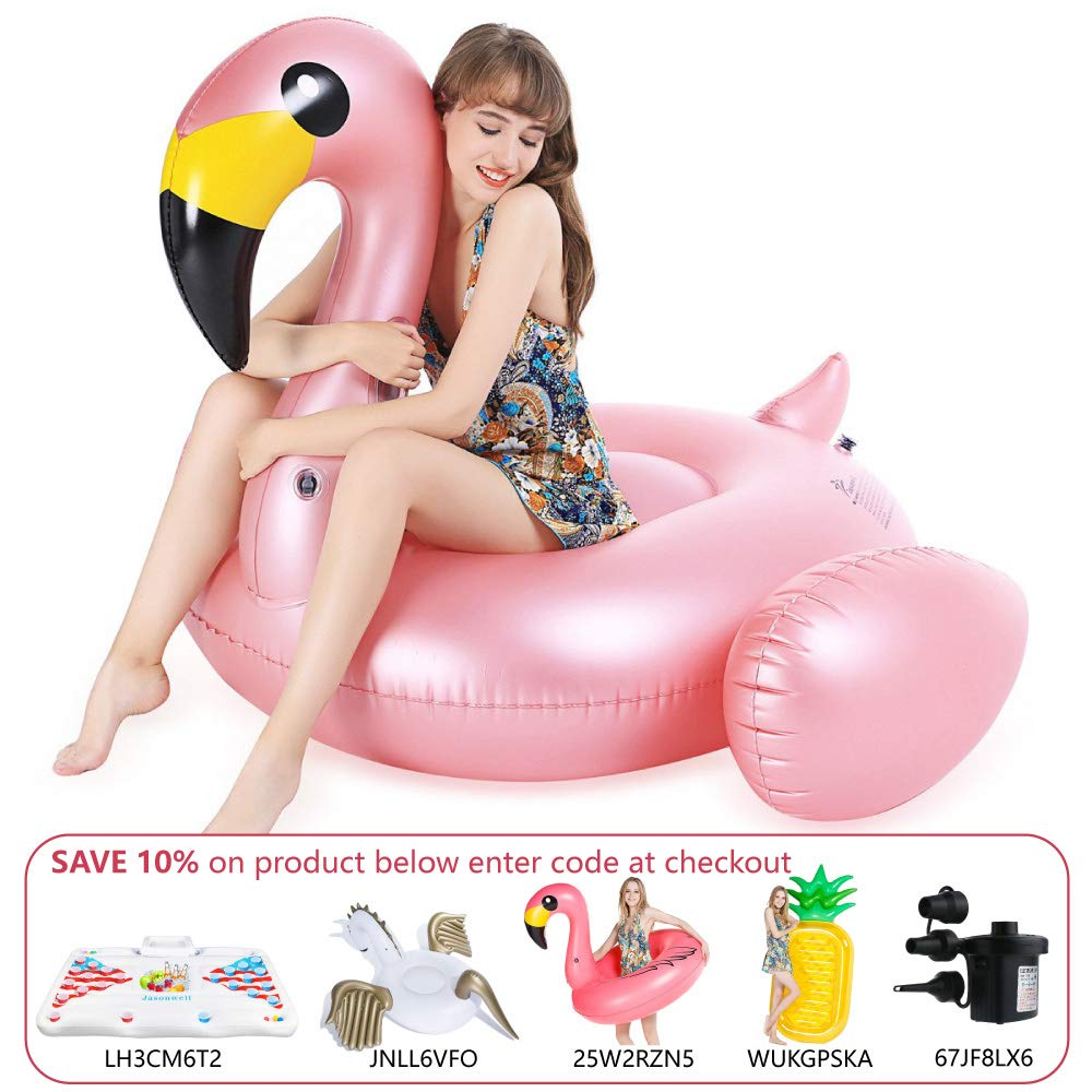 Jasonwell Giant Inflatable Flamingo Pool Float with Rapid Valves Summer Beach Swimming Pool Party Lounge Raft Decorations Toys for Adults Kids (Large)