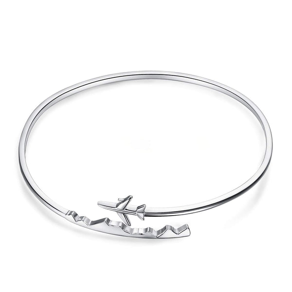 JewelryPalace 925 Sterling Silver World Travel Souvenir Airplane Adjustable Open Bangle Bracelet