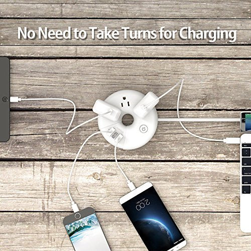 Travel Power Strip, NTONPOWER 3 Outlets 3 USB Portable Desktop Charging Station Short Extension Cord 15 inch for Office, Home, Hotels, Cruise Ship, Nightstand - White