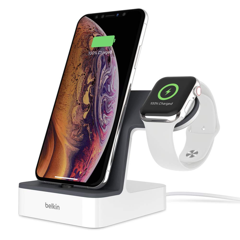 Belkin Powerhouse Charge Dock for Apple Watch + iPhone Charging Dock for iPhone Xs, XS Max, XR, X, 8/8 Plus and More, Apple Watch Series 4, 3, 2, 1 (White)