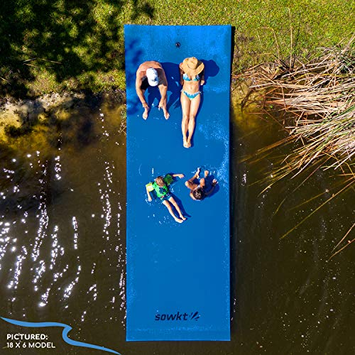 SOWKT [Newest Model] Floating Water Pad - Floating Island for Lakes or Pools - Giant Lily Pad Holds up to 8 Adults or 20 Kids. Unlimited Fun! (18 x 6)
