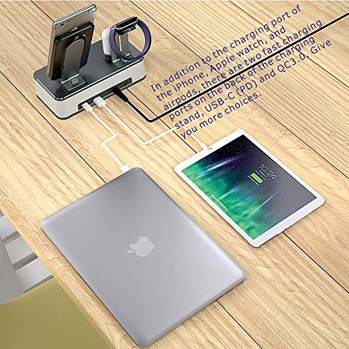 VMEI Wireless Charging Stand,7 in 1 Aluminum Wireless Phone Charging Stations for iPhone/iWatch/Airpods Charging Cradle/Integrated 45w PD Output/Nightlight(Gray)