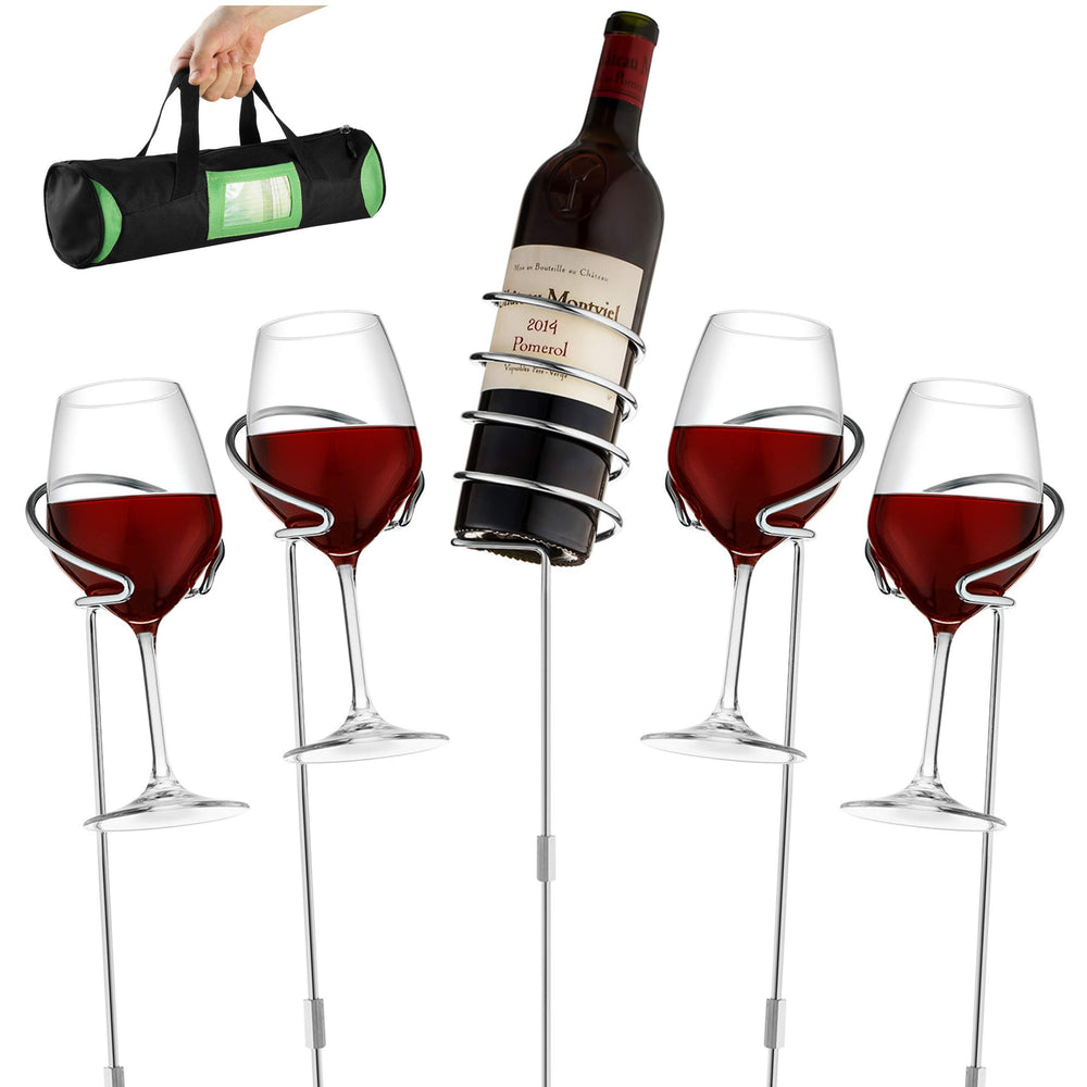 Wine Bottle & Cup Standing Holder Rack