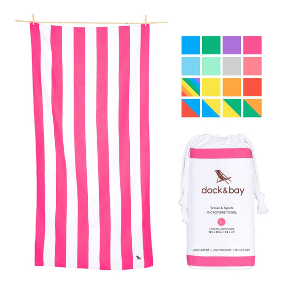 Dock & Bay Quick Dry Pink Beach Towel X-Large (200x90cm, 78x35) - Sand Proof Beach mat, Fast Drying